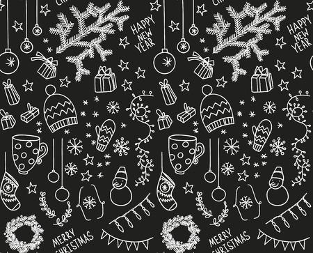 Sketchy doodle winter pattern Vector