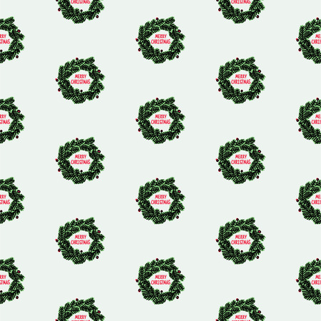 christmas seamless pattern: Hand drawn Christmas seamless pattern with wreath