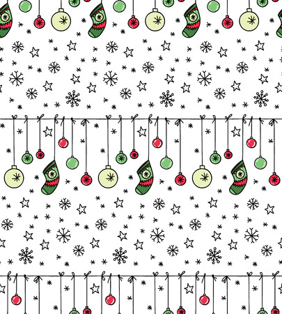 christmas seamless pattern: Hand drawn New Year and Christmas seamless pattern