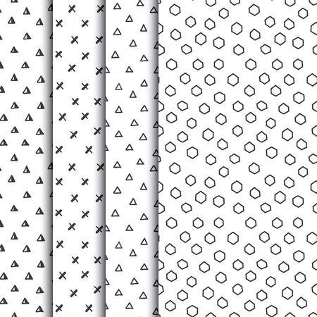 Set of four doodle seamless geometric patterns