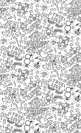 Hand drawn Valentines day tattoo pattern Banco de Imagens - 35636211