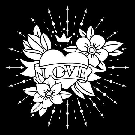 dessin coeur: Coeur de tatouage craie avec du ruban et fleurs