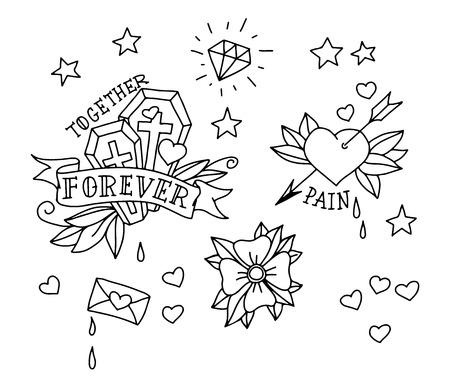 coeur diamant: Ensemble d'�l�ments de tatouage dessin�s � la main