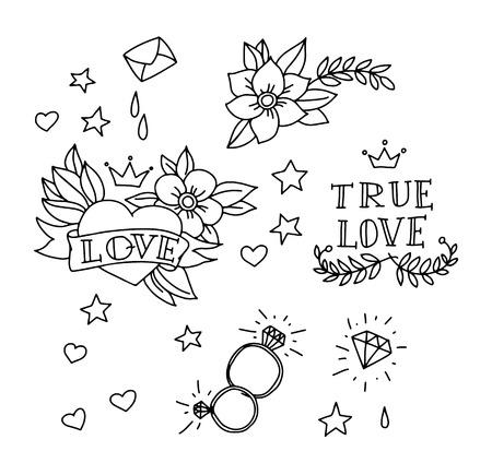 coeur en diamant: Ensemble d'éléments de tatouage dessinés à la main