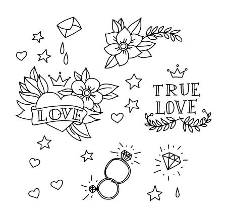 Set of hand drawn tattoo elements