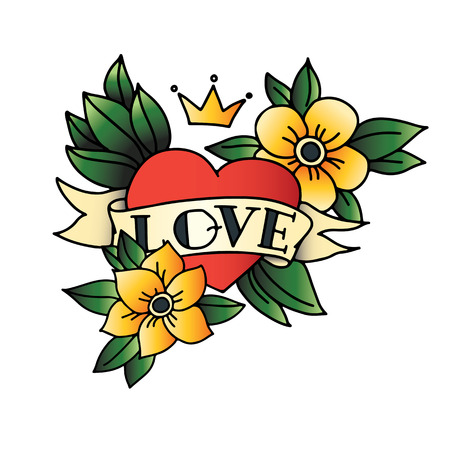 crowns: Hand drawn tattoo heart with ribbon and leaves