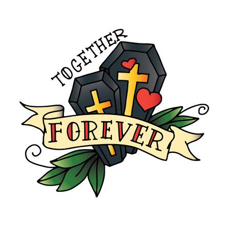 Tattoo sketch with coffins, ribbon and hearts Ilustração
