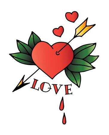 hojas antiguas: Dibujado a mano tatuaje de coraz�n con la flecha y hojas Vectores