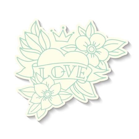 hojas antiguas: Vieja escuela Dibujado a mano pegatina coraz�n del tatuaje Vectores