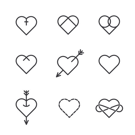 Set of nine lined hearts in tattoo style, vector