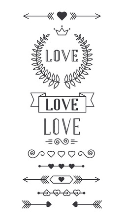 lined: Set of lined design elements for Valentines Day, vector