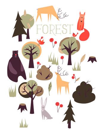 animales salvajes: Vector conjunto de animales salvajes del bosque y los �rboles