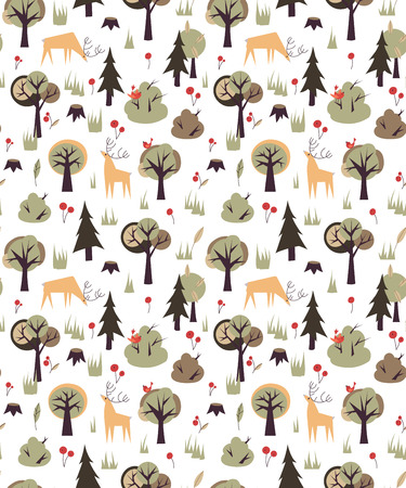 bear berry: Seamless vector pattern with wild forest animals and trees Illustration