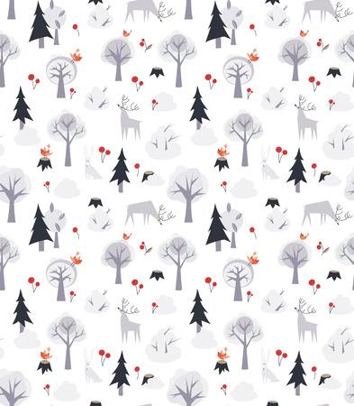 animales del bosque: Modelo incons�til del vector con los animales salvajes del bosque y los �rboles