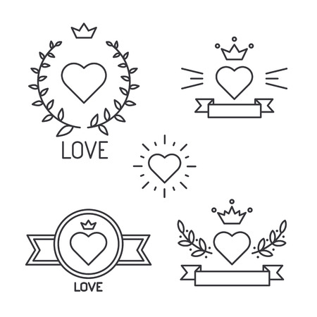 Set of lined hearts in tattoo style, vector