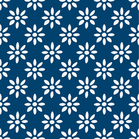Hand drawn seamless blue and white indigo pattern, vector Ilustrace