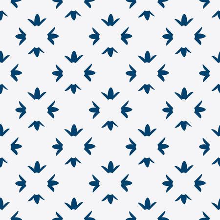 dutch tiles: Hand drawn seamless blue and white indigo pattern, vector Illustration