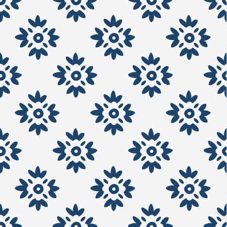 dutch tiles: Indigo and white seamless delft pattern, vector Illustration