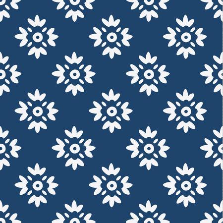 delft: Indigo and white seamless delft pattern, vector Illustration