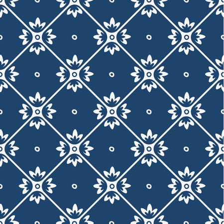 asia: Indigo and white seamless floral delft pattern, vector