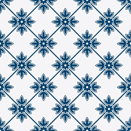 delft: Indigo and white seamless floral delft pattern, vector