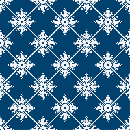 Indigo and white seamless floral delft pattern, vector 版權商用圖片 - 37920514
