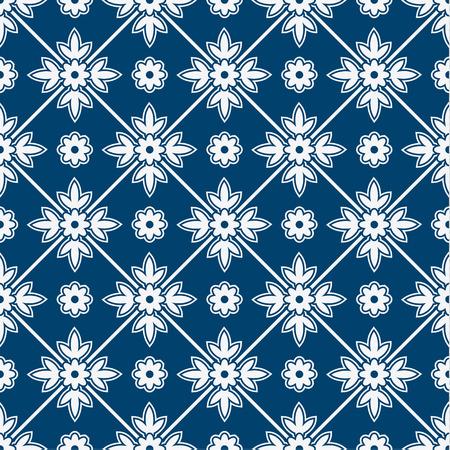 藍と白のシームレスなフローラル デルフト パターン、ベクトル