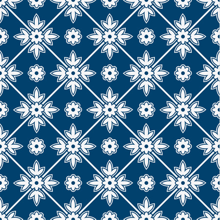 japanese flower: Indigo and white seamless floral delft pattern, vector
