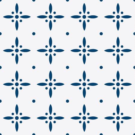 dutch tiles: Indigo and white seamless floral delft pattern, vector