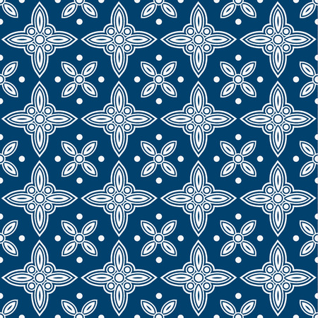 Indigo and white seamless floral delft pattern, vector Vector
