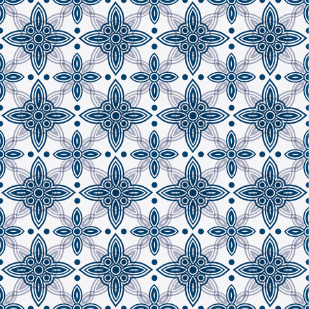 delft: Indigo and white seamless floral delft pattern, vector