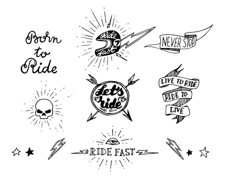 Traditional tattoo biker set of design elements Иллюстрация