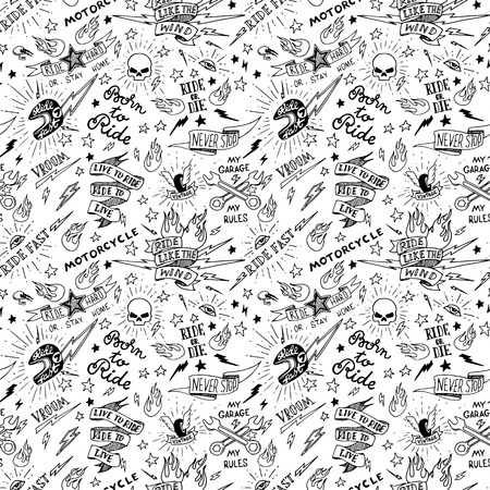 Vintage Traditional Tattoo Biker Seamless Pattern, Vector