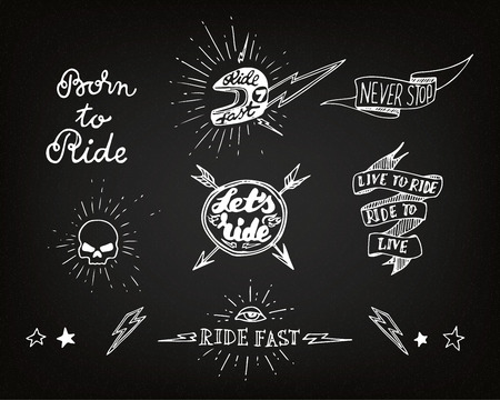 Traditional tattoo biker set of design elements Illustration