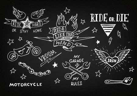 Traditional tattoo biker set of design elements Vector