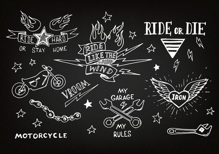 tattoo traditional: Tradizionale biker tatuaggio insieme di elementi di design