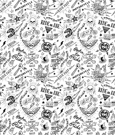 Vintage traditional tattoo biker seamless pattern, vector illustration Vector