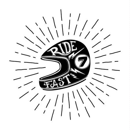 Retro biker helmet illustration with hand lettering, vector