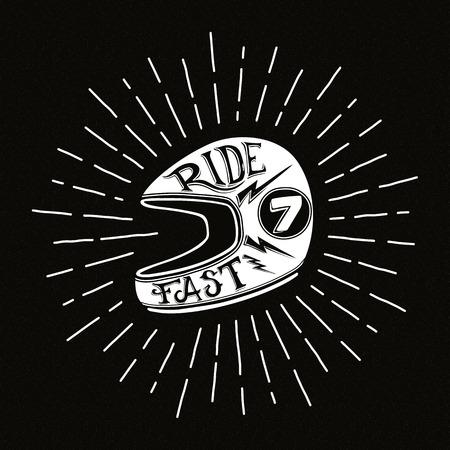 Retro biker helmet illustration with hand lettering, vector Vector