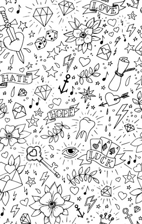 Vintage hand drawn traditional tattoo background, vector