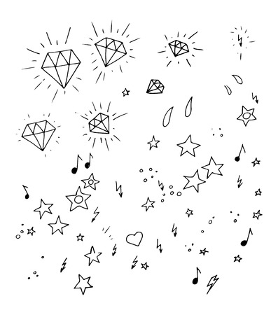 Tiny additional tattoo style hearts, arrows, aters and diamonds Illustration