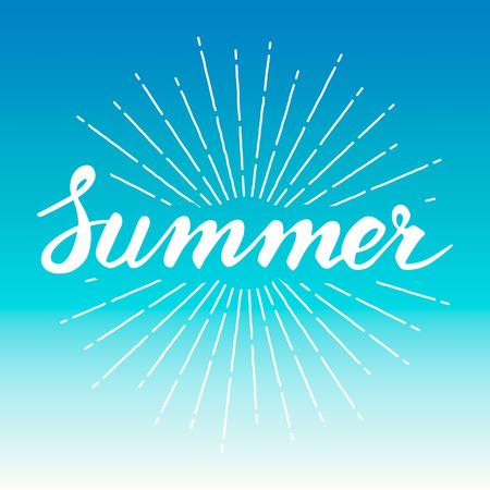 blue: Hand drawn vintage summer design element with sunburst background, vector