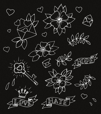 Vintage set of hand drawn traditional tattoo design elements, vector Illustration