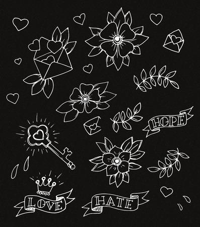hojas antiguas: Vintage conjunto de dibujado a mano elementos de dise�o de tatuajes tradicionales, vector