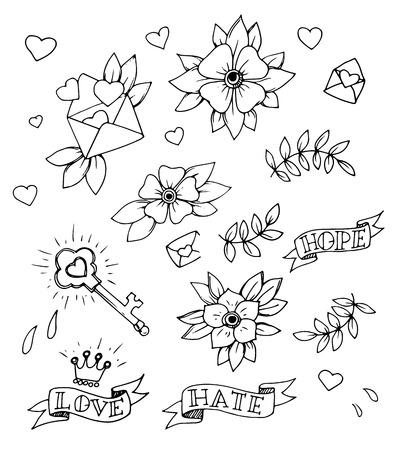 Vintage set of hand drawn traditional tattoo design elements, vector 矢量图像