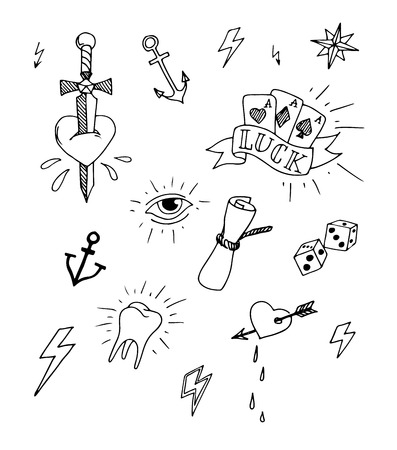Vintage set of hand drawn nautical tattoo design elements, vector