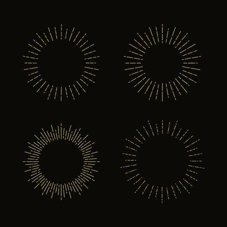Set of four circular vintage sunburst design elements, vector Vector