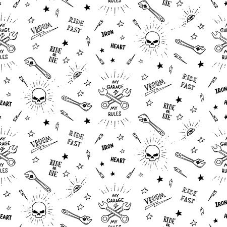 Vintage traditional tattoo biker seamless pattern, garage theme, vector illustration Vector