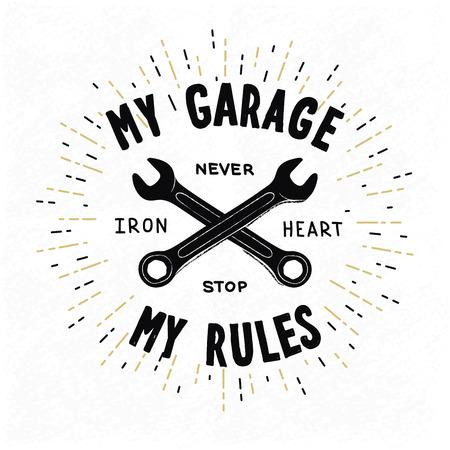 Vintage typographic biker or auto repair shop poster, vector Vector