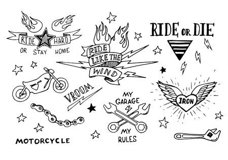old school bike: Traditional tattoo biker set of design elements Stock Photo
